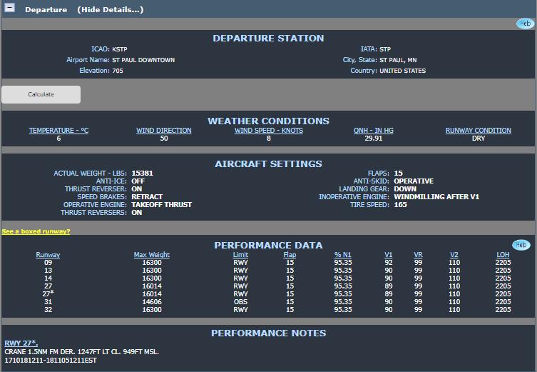 FltPlan Runway Analysis Info